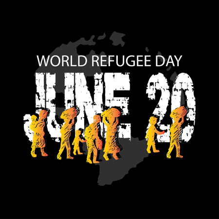 World Refugee Day Concept. June 20. Vektorgrafik