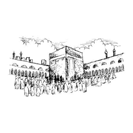 Sketch of Holy Kaaba in Mecca Saudi Arabia