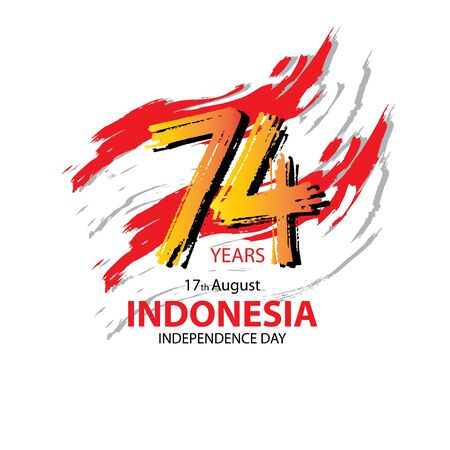 74 years, Indonesia Independence Day greeting card. Çizim