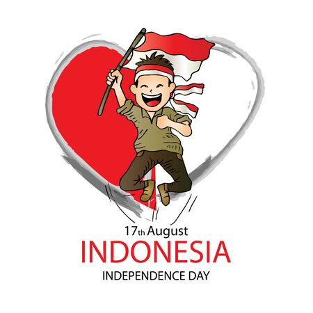 17 August. Indonesia Independence Day greeting card.