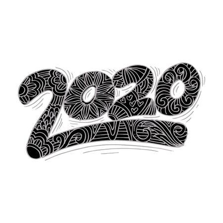 Happy New Year 2020 celebration number. Çizim