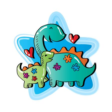 Happy cartoon dinosaur. Cartoon illustration.
