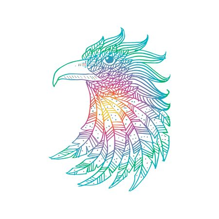 Head of eagle. Hand Drawn doodle vector illustration.