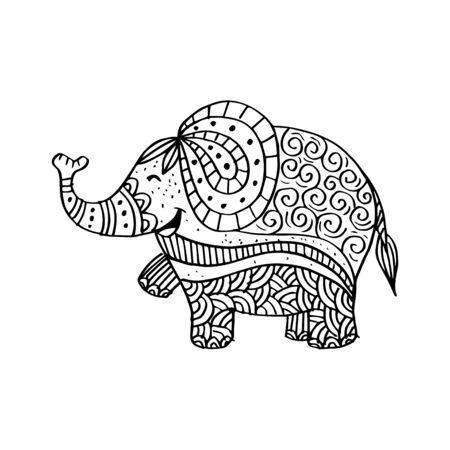 Dekorative Illustration des Elefanten.