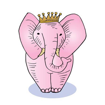 Cute Baby Elephants. Cartoon illustration on white background.