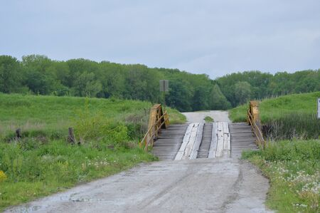 Old bridge between fields