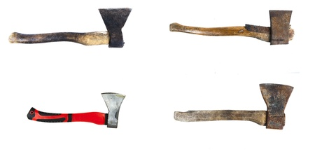various old and new axes isolated on white background photo