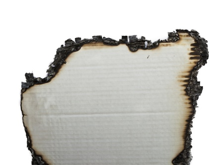 charred paper on a white background photo