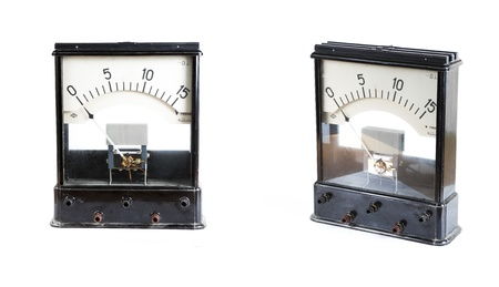 ammeter: analog ammeter isolated on white background Stock Photo