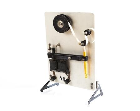 shortwave: vintage morse telegraph machine isolated on white background