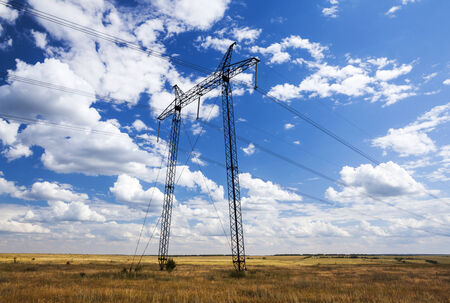reliance: Reliance power lines in the autumn field Stock Photo