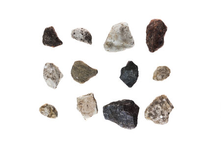 different stones isolated on white background photo