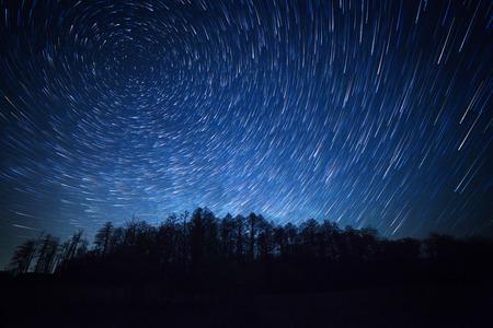 夜の空、星の軌跡と森 写真素材