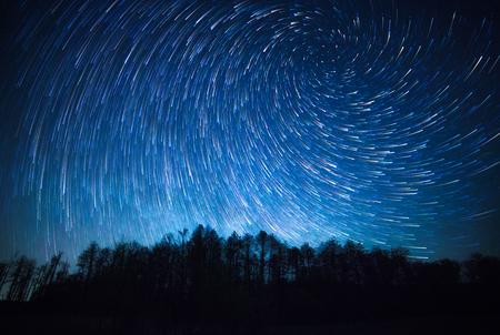 夜の空、スパイラル スター トレイルと森