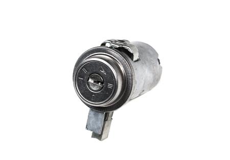 ignition lock isolated on white background photo