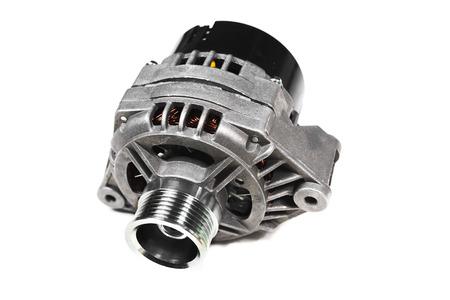 alternator: automobile generator isolated on white background Stock Photo