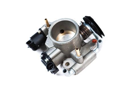 automotive throttle isolated on white background photo