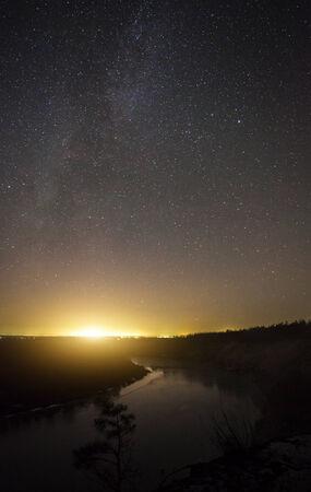 bellissimo paesaggio notte, notte Moonrise
