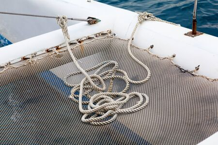 Sailing yacht rigging, ropes closeup.
