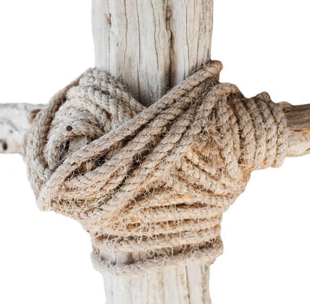 wooden structure with a thick rope closeup isolated on whote background Stock fotó