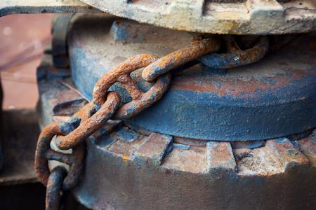 iron chain: old rusty iron chain closeup Stock Photo