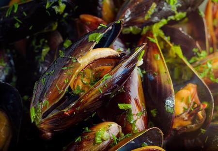 fresh baked: Fresh baked mussels
