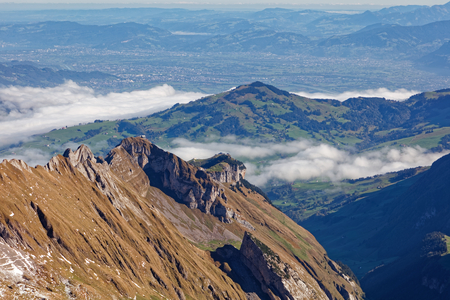 Sunny views from Säntis towards north, Alpstein - Appenzell Alps, Switzerland Stock Photo