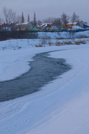 frozen river: not the frozen river in the cold winter Stock Photo