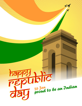 qutub minar: Vector Illustration of Indian Republic day. Indian flag made by airplane.
