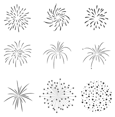 deepawali backdrop: Fireworks set Illustration