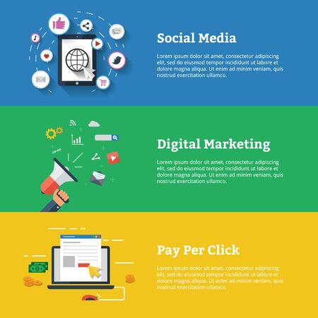 Des médias sociaux. Le marketing numérique. Payer avec un clic. Concept de bannière d'illustration vectorielle design plat moderne pour le web et l'infographie. Vecteurs