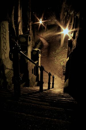 Scary staircase at night