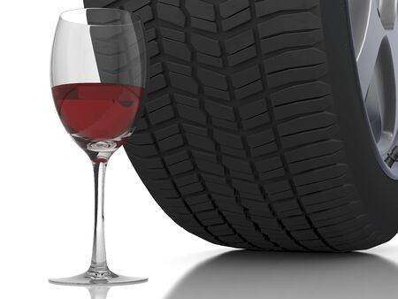sobriety test: Wine glass with a car wheel in the back ground