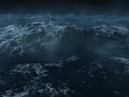 wind storm: Ocean scape, dark and heavy seas in the north Atlanticc.