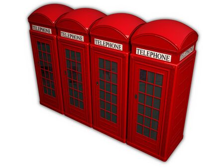 Four telephone boxes in a row on a white background photo