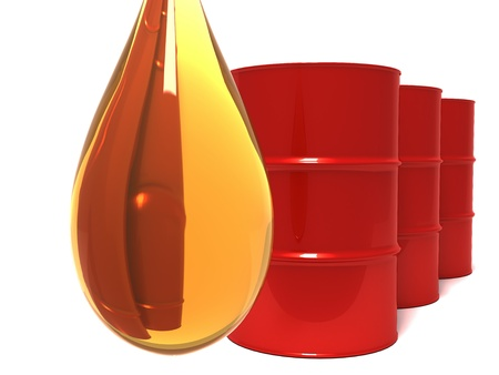 oil barrel: A drip of oil with red oil drums in background