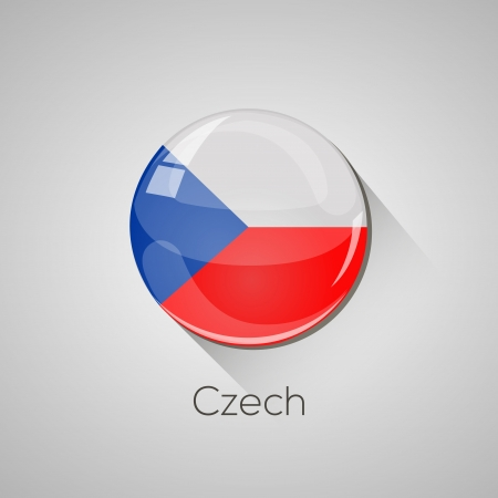 European Flags set  detailed glossy button with long shadow