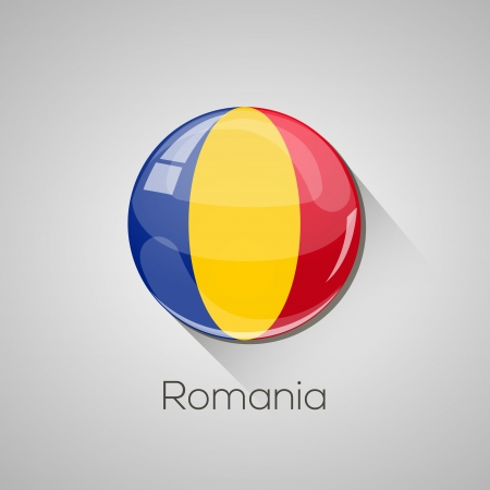 European Flags set  detailed glossy button with long shadow  Vector