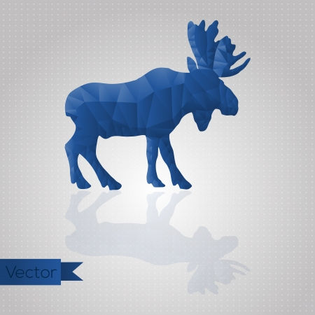 Abstract triangular blue moose isolated on a white background