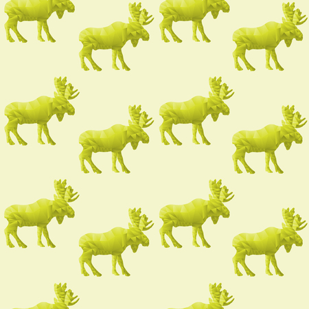 Abstract triangular moose isolated on a green background  Seamless pattern Vector