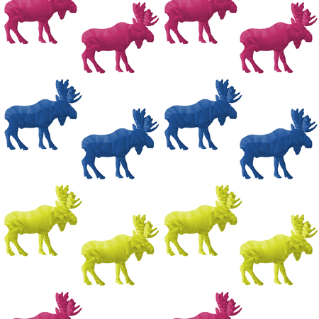 Abstract triangular moose isolated on a white background  Seamless pattern Vector