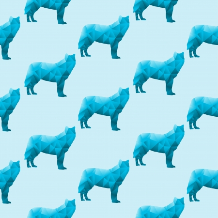 Abstract triangular wolf isolated on a blue background  Seamless pattern