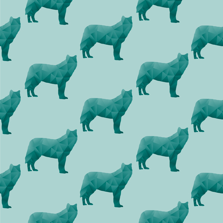 Abstract triangular wolf isolated on a green background  Seamless pattern