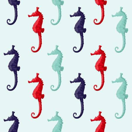 Abstract triangular seahorse isolated on background    Illustration