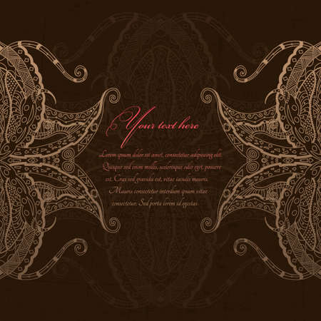 Grunge lace beige ornament  Vector
