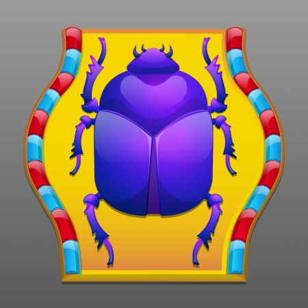 Decorative, ancient, egyptian scarab beetle Vector
