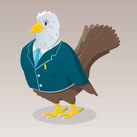 breast comic: Cute cartoon bird in jacket