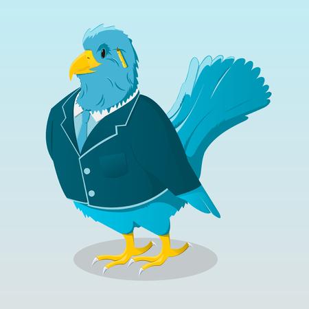 Cute cartoon bird in jacket Stock Vector - 23010329