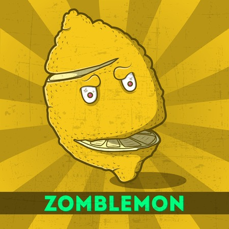 Funny cartoon zomblemon on the retro background Vector