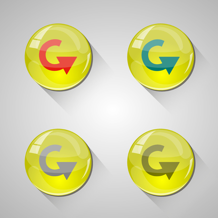 Detailed glossy arrow buttons with long shadow Vector